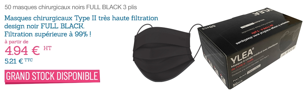 Achat masque chirurgical noir type 2